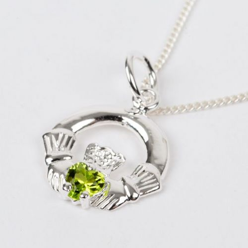 Sterling Silver Claddagh Birthstone Pendant with Peridot CZ